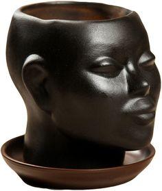 """Кашпо Хорошие сувениры """"Голова"""", 671046, черный, 11 см"""