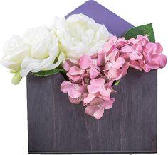 Кашпо-конверт садовое Дарите Счастье, 3910495, серый, фиолетовый, 22 х 18 х 8,5 см