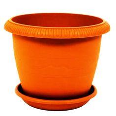 Горшок для цветов ТЕК.А.ТЕК комнатных с поддоном LE JARDIN (Ле Жардин) диаметр 25 см, объем 5,5 л. Цвет: терракотовый. Ар. 103-4, Пластик