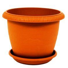 Горшок для цветов ТЕК.А.ТЕК комнатных с поддоном LE JARDIN (Ле Жардин) диаметр 20 см, объем 2,8 л. Терракот. Ар. 102-4, Пластик