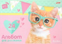 """Альбом для рисования Hatber """"Очаровашки"""", 24 листа 24А4B_17926_рыжий котенок в очках"""