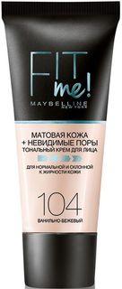 """Maybelline New York Тональный крем для лица """"Fit Me"""", матирующий, скрывающий поры, Оттенок 104, Ванильно-Бежевый, 30 мл"""