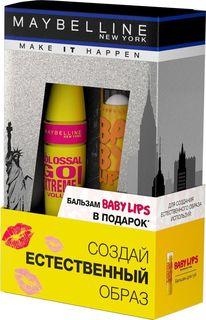 "Подарочный набор Maybelline New York Тушь для ресниц Colossal Go Extreme, 9,5 мл + Бальзам для губ Baby Lips ""Бережный уход"", 1,78 мл"