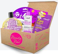 Vilenta Набор Бьюти Бокс Purplemania (банный гель-сыворотка, 300 + мицеллярная вода для снятия макияжа, 200 мл + маска для лица, 3 шт), 580 мл