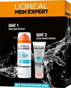 Подарочный набор LOreal Paris Men Expert: пена для бритья, гипоаллергенная, 200 мл + крем после бритья, для чувствительной кожи, 75 мл