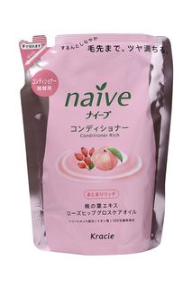 "Kracie 71611 ""Naive"" Бальзам-ополаскиват. для сух. волос восст. «Naive - экстракт персика (смен.упаковка), 400 мл"