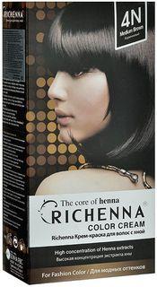 Richenna Крем-краска для волос, с хной, оттенок 4N Коричневый