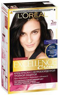 Стойкая крем-краска для волос LOreal Paris Excellence, оттенок 200, Кофейный