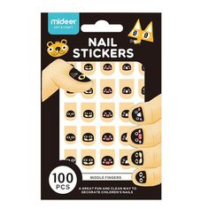 Наклейки для ногтей Mideer Черные Mордочки (100 шт), 20