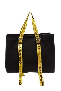 Черная сумка с желтыми ручками Off White