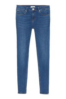 Узкие джинсы с оранжевой отстрочкой Sandro