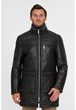 Утепленная кожаная куртка с отделкой овчиной