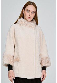 Облегченная шуба из овечьей шерсти с отделкой овчиной калган Virtuale Fur Collection