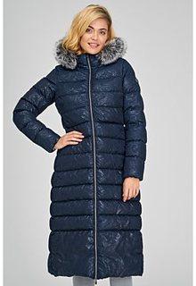 Длинное пальто с отделкой мехом чернобурки Madzerini