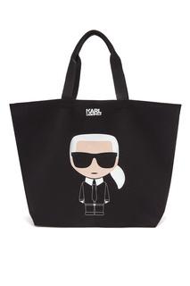 Черная сумка-шоппер с рисунком Karl Lagerfeld
