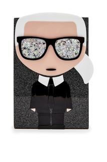 Блестящая сумка с символикой бренда Karl Lagerfeld