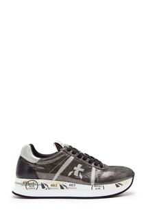 Серебристо-черные кроссовки Conny Premiata