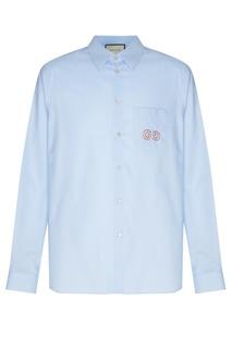 Голубая сорочка с вышивкой GG Gucci Man