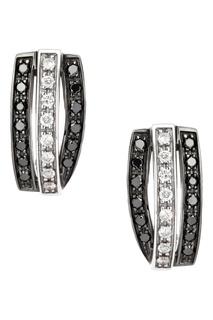 Серьги из белого золота с черными и бесцветными бриллиантами Кремлевские Мастера