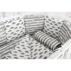 Комплект в кроватку AmaroBaby WB Premium 18 предметов (6+12 подушек-бортиков) РАДУГА (бязь, серый)