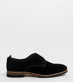 Черные замшевые туфли для широкой стопы, со шнуровкой и контрастной подошвой ASOS DESIGN - Черный