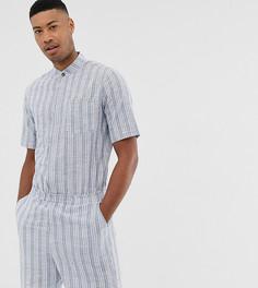 Комбинезон с шортами из легкой жатой ткани в полоску ASOS DESIGN Tall - Синий