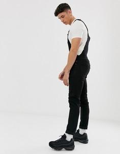 Черный джинсовый комбинезон скинни с рваной отделкой ASOS DESIGN - Черный
