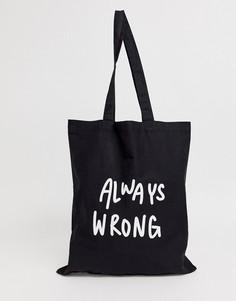 Черная сумка-тоут из органического хлопка с принтом always wrong ASOS DESIGN - Черный