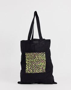 Черная сумка-тоут из органического хлопка с неоновым леопардовым принтом на вставке ASOS DESIGN - Черный