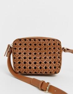 Плетеная кожаная сумка ASOS DESIGN - Рыжий