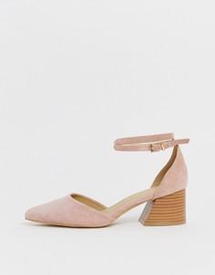 Бледно-розовые туфли на наборном каблуке RAID Ramira - Бежевый