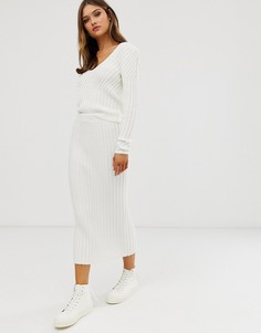 Комбинируемая трикотажная юбка в рубчик ASOS DESIGN - Кремовый