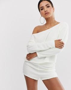 Свитшот с открытыми плечами и шорты для дома ASOS DESIGN - Белый