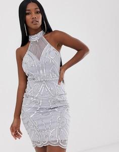 Серебристое платье с высоким воротом и пайетками Lipsy - Серебряный