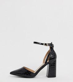 Черные туфли на блочном каблуке с эффектом крокодиловой кожи RAID Wide Fit - Черный