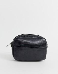 Черная сумка с отделкой под кожу крокодила Pimkie - Черный