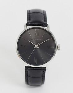 Классические часы черного и серебристого цвета с ремешком из искусственной кожи ASOS DESIGN - Черный