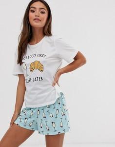 Футболка и пижамные шорты ASOS DESIGN - Белый