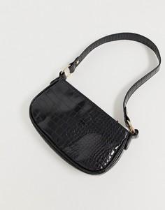 Сумка на плечо из искусственной крокодиловой кожи в стиле 90-х ASOS DESIGN - Черный