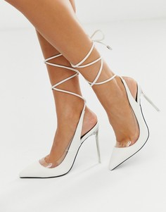 Белые туфли-лодочки с завязкой на щиколотке Public Desire Clarity