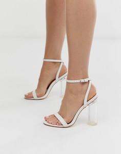 Белые легкие босоножки с прозрачным каблуком и эффектом крокодиловой кожи Public Desire Blink - Белый