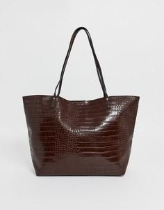 Сумка с рисунком крокодиловой кожи ASOS DESIGN - Коричневый