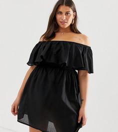 Черное пляжное платье с открытыми плечами Simply Be - Мульти