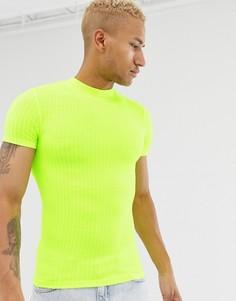 Эластичная облегающая футболка неоново-желтого цвета с короткими рукавами и высоким воротом ASOS DESIGN - Желтый