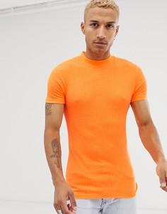 Эластичная облегающая футболка неоново-оранжевого цвета с короткими рукавами и высоким воротом ASOS DESIGN - Оранжевый
