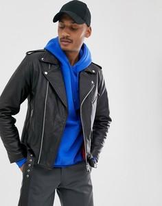Черная кожаная куртка с поясом Vintage Supply - Черный