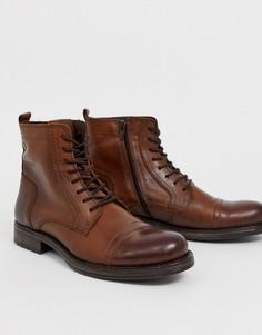 Коричневые кожаные ботинки на шнуровке Jack & Jones - Коричневый