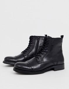Черные кожаные ботинки на шнуровке Jack & Jones - Черный