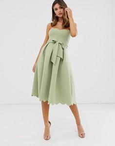 Платье-бандо миди для выпускного с фигурной отделкой ASOS DESIGN - Зеленый