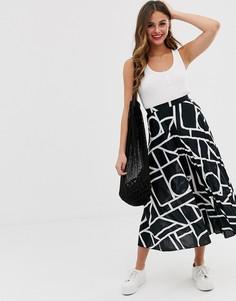Плиссированная юбка миди с абстрактным принтом ASOS DESIGN - Мульти